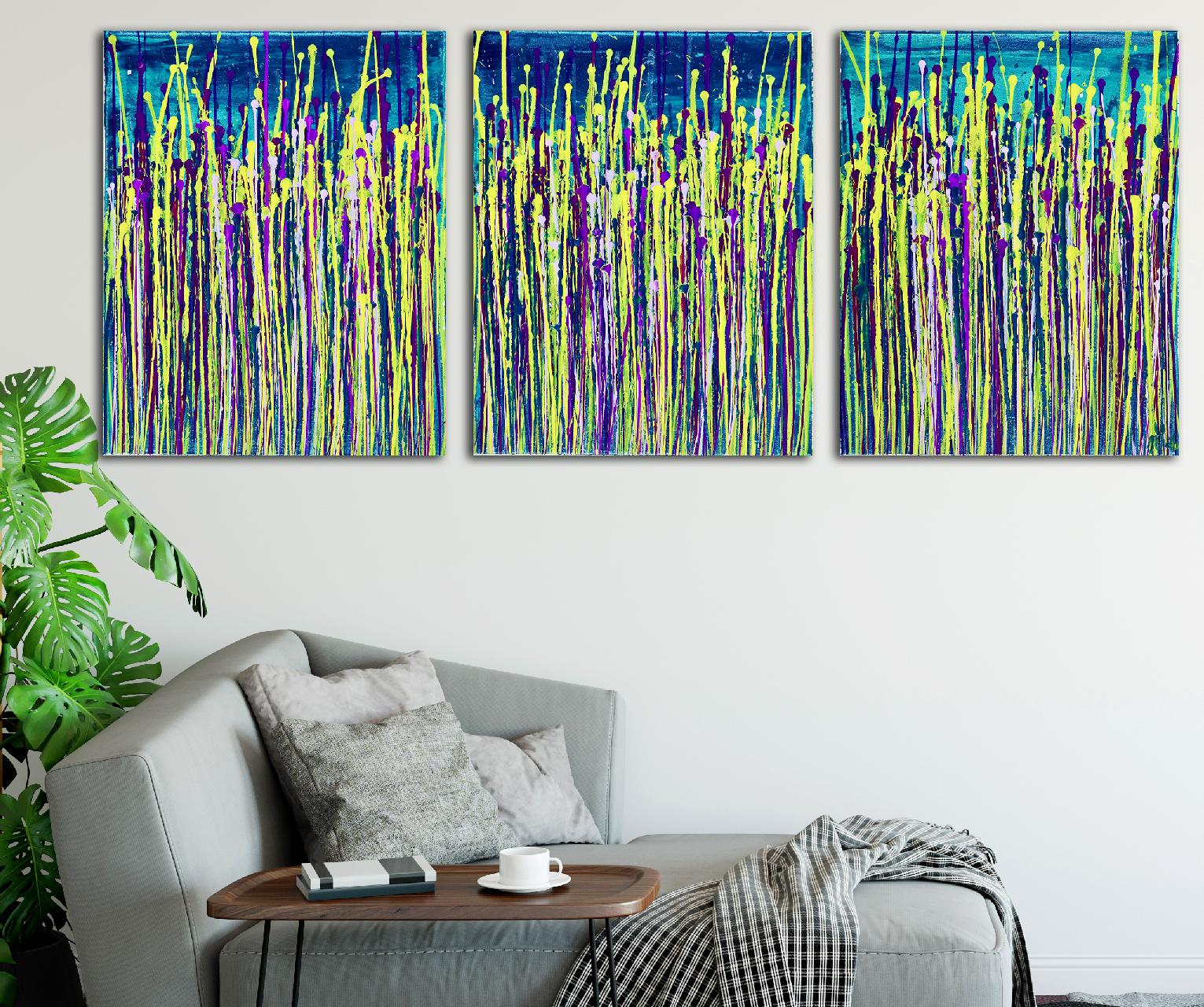 Daydream panorama 6 (Teal retreat) (2020) abstract painting by Nestor Toro