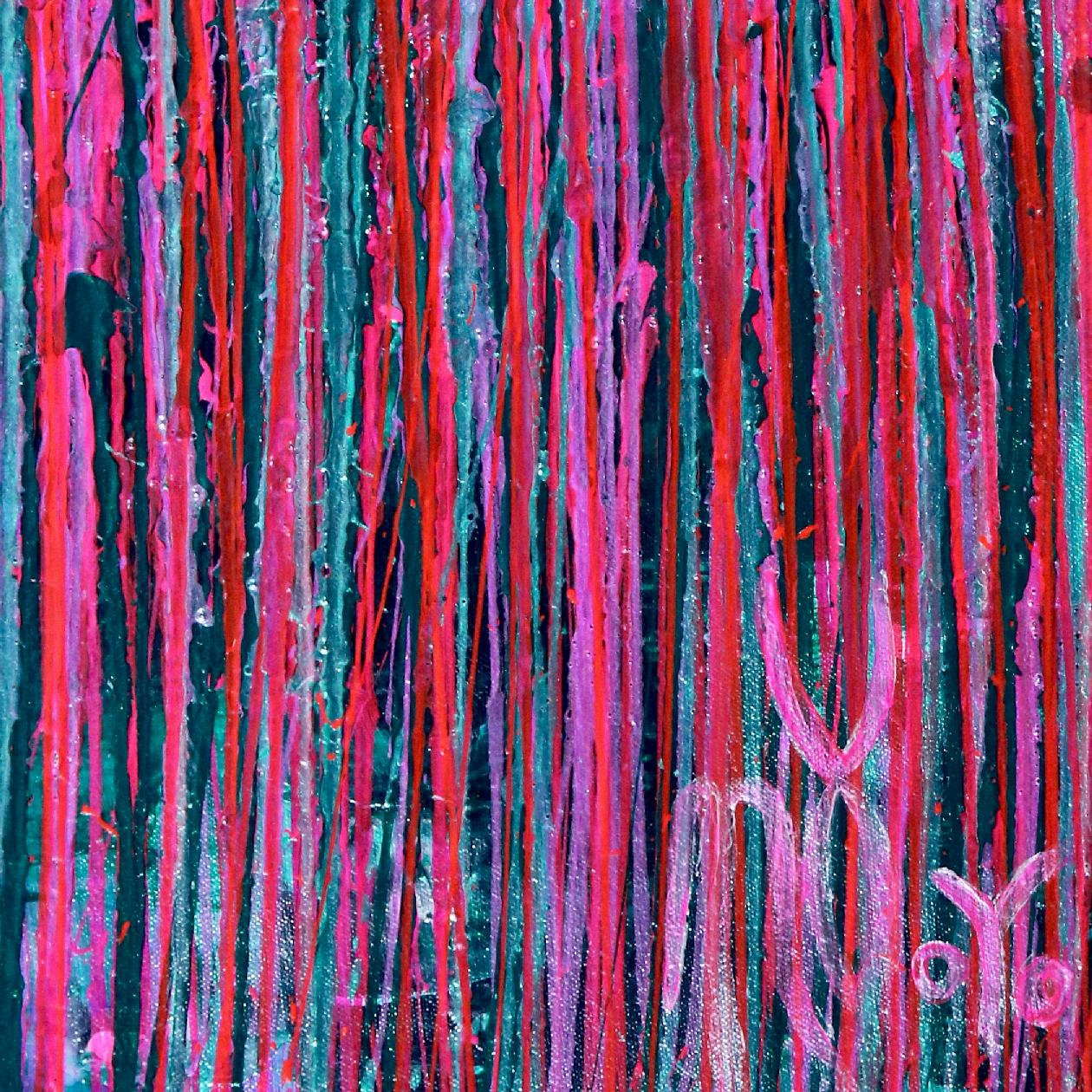 Signature - Pink Synergy (Fantasy Garden) - Metallic Abstract Painting (2020) by Nestor Toro