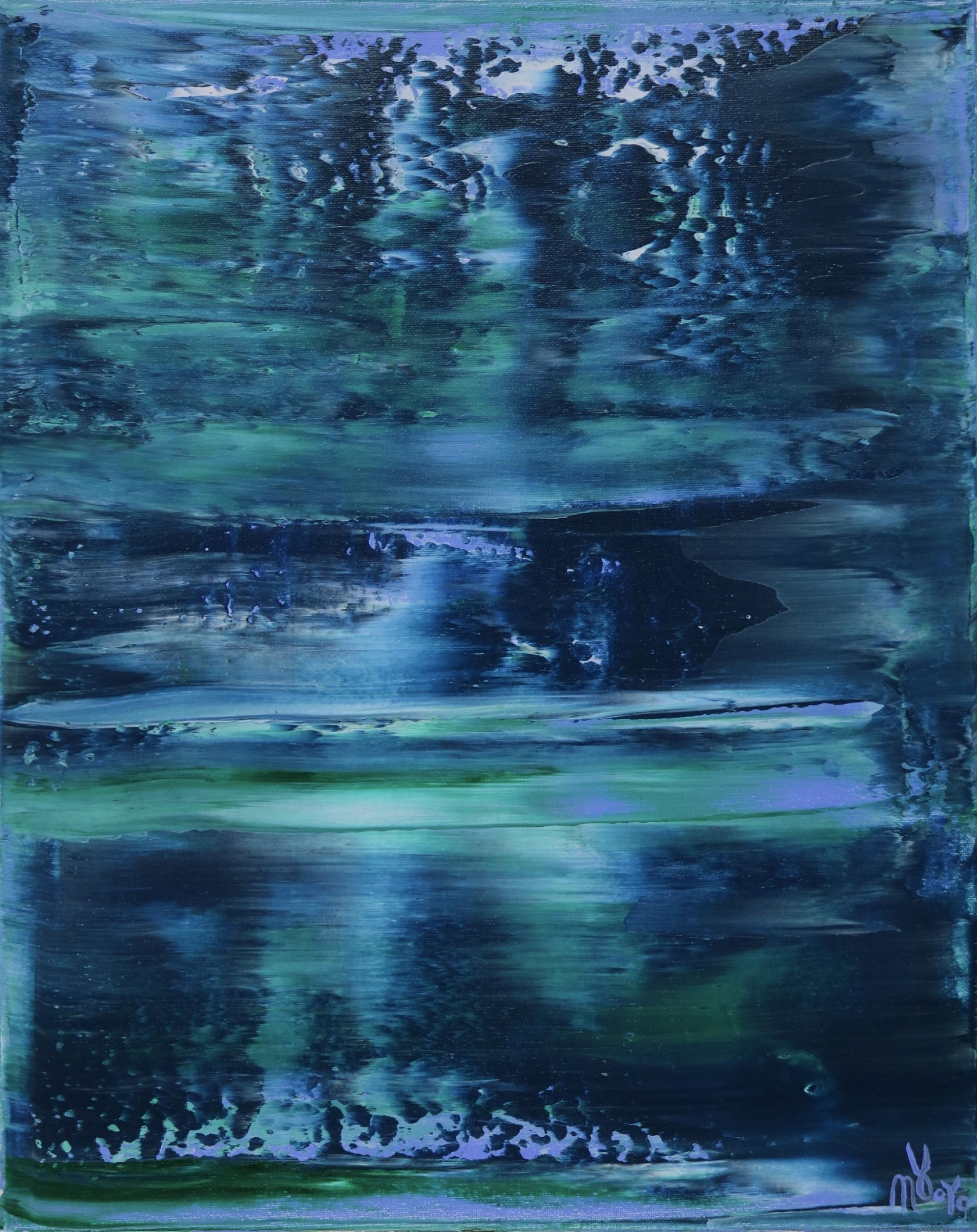 SOLD - Canvas 3 - Stormy Azure Night - Triptych (2020) by Nestor Toro in Los Angeles