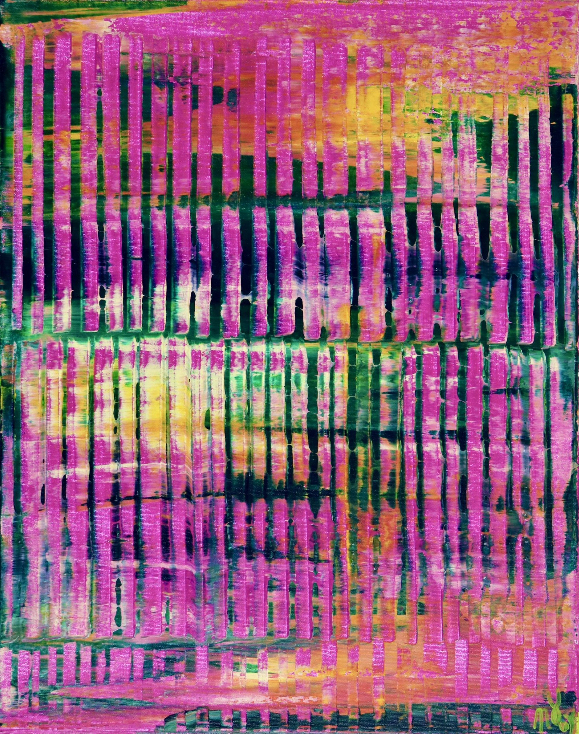 Full Canvas - Pink Refractions (Green Textures) 2 (2020) by Nestor Toro