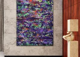 SOLD - Mystery Garden ( In scarlet, purple and green) (2020) Abstract painting by Nestor Toro