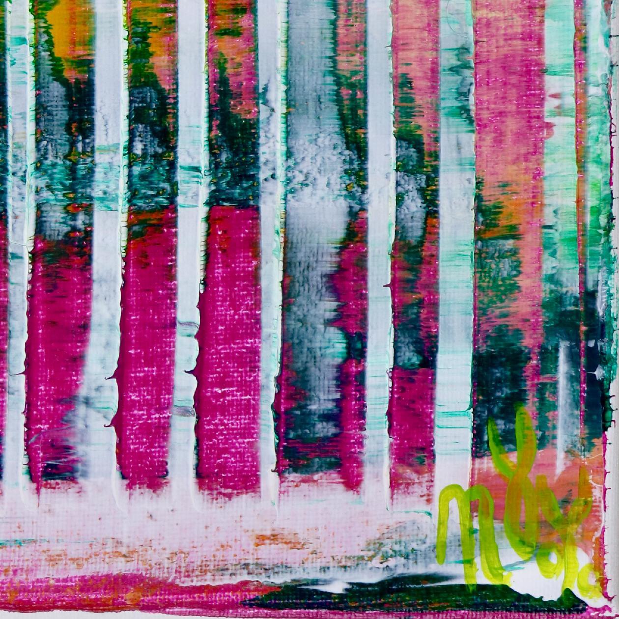 Signature - Pink Refractions (Green Textures) 1 (2020) by Nestor Toro