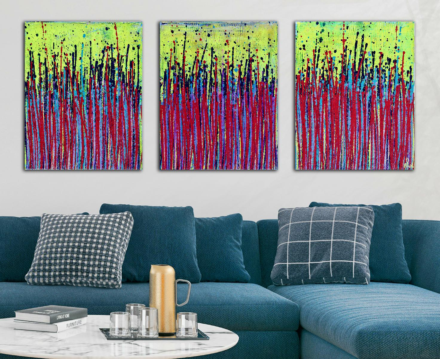 Room View - Interrupted odyssey (2020) Triptych by Nestor Toro