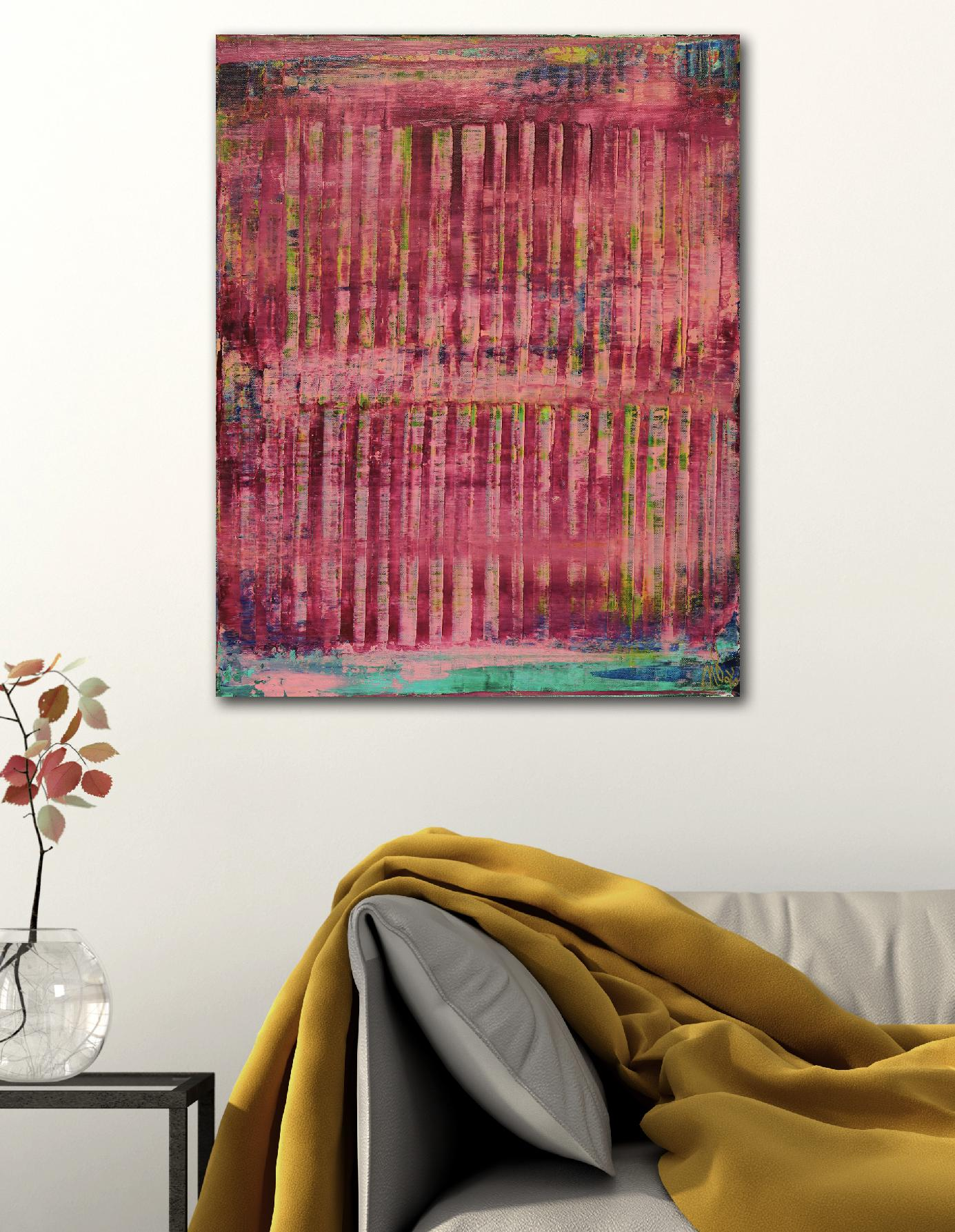 Room View - Pink spectra and lights 2 (2020) by Nestor Toro - SOLD