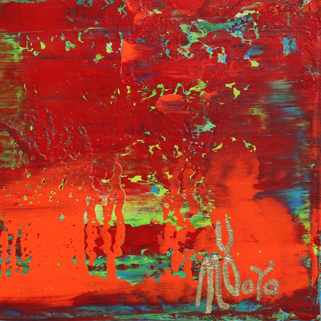 Signature Closeup - Detail - Rojo infinito (Fiery abstract) 6 (2020) by Nestor Toro