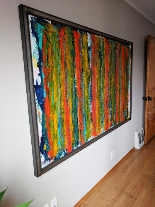 Side view of artwork on the bedroom wall