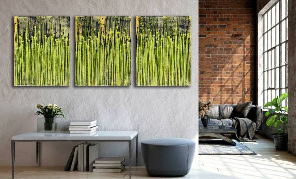 Room View - Daydream Panorama (Natures Imagery) 17 (2020) - Triptych by Nestor Toro