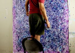 SOLD - Artist Nestor Toro and his work - Blue Display of Affection (Silver stars) (2020)