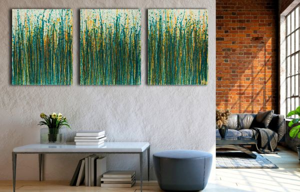 Room View / Crystal Down (Forest Green) (2020) / Triptych / West Hollywood