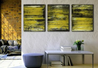 Room Views / Golden Sand Terrain (2020) Triptych by Nestor Toro