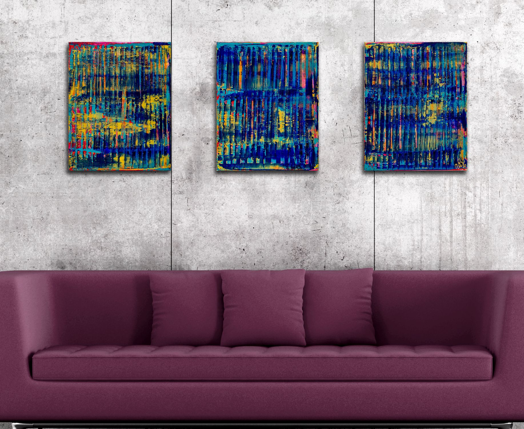 Room example / Breeze Intrusion (Gold Cracks) 2020 / Triptych by Nestor Toro