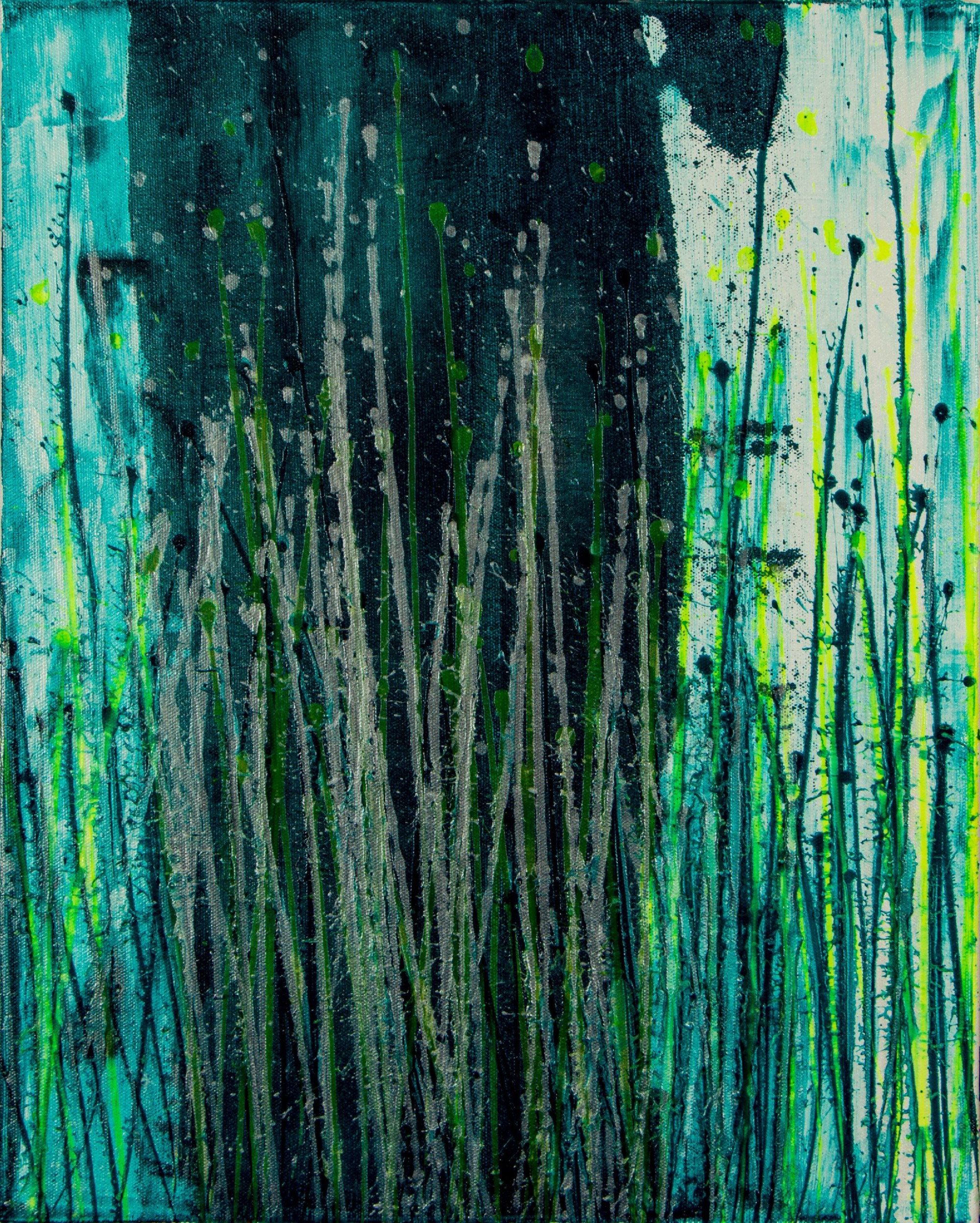 Canvas 1 - Vernal Garden (With Green and Silver) (2021) - Triptych