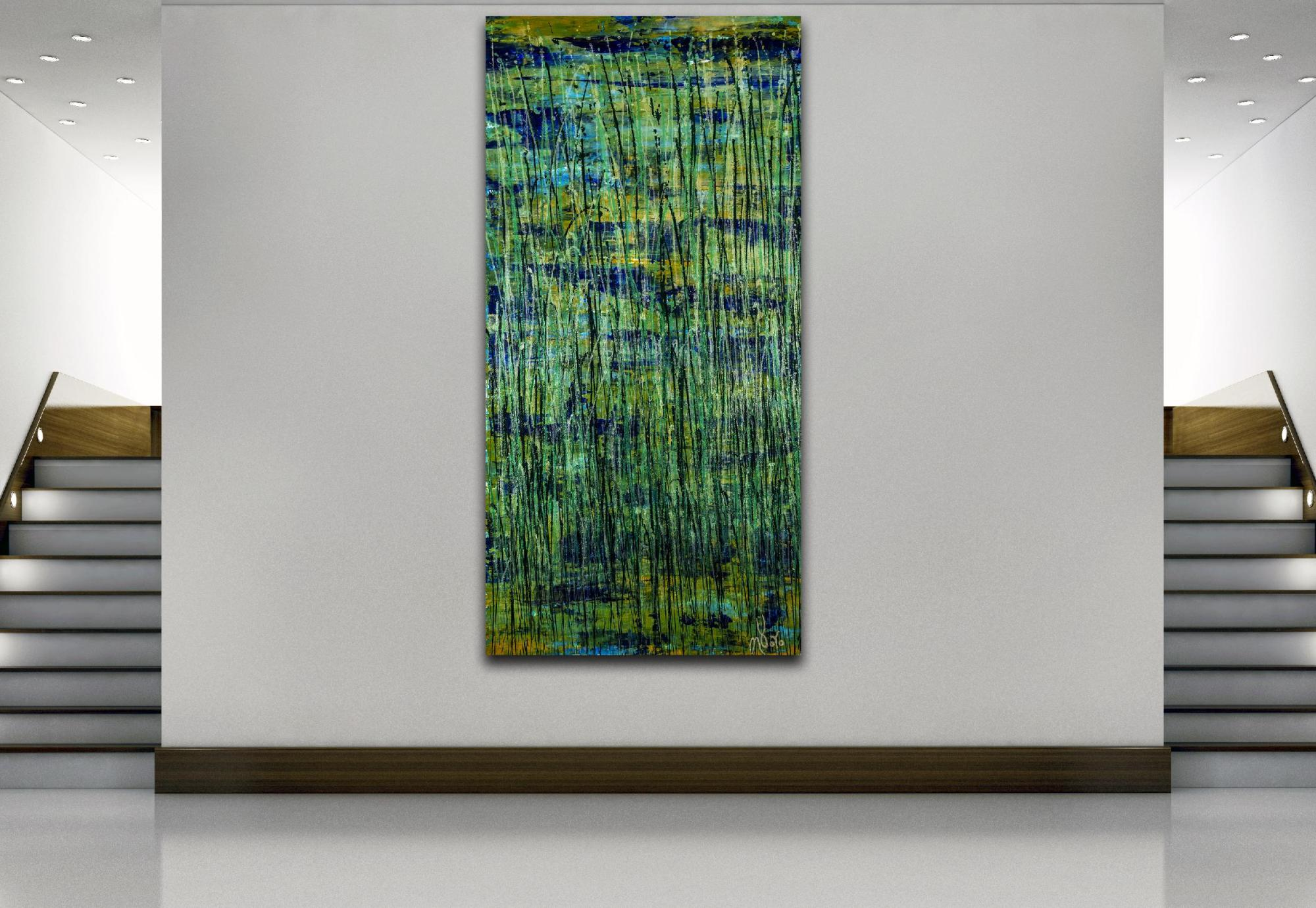 Room example - Green forest (Silver lights intrusions) (2021) by Nestor Toro