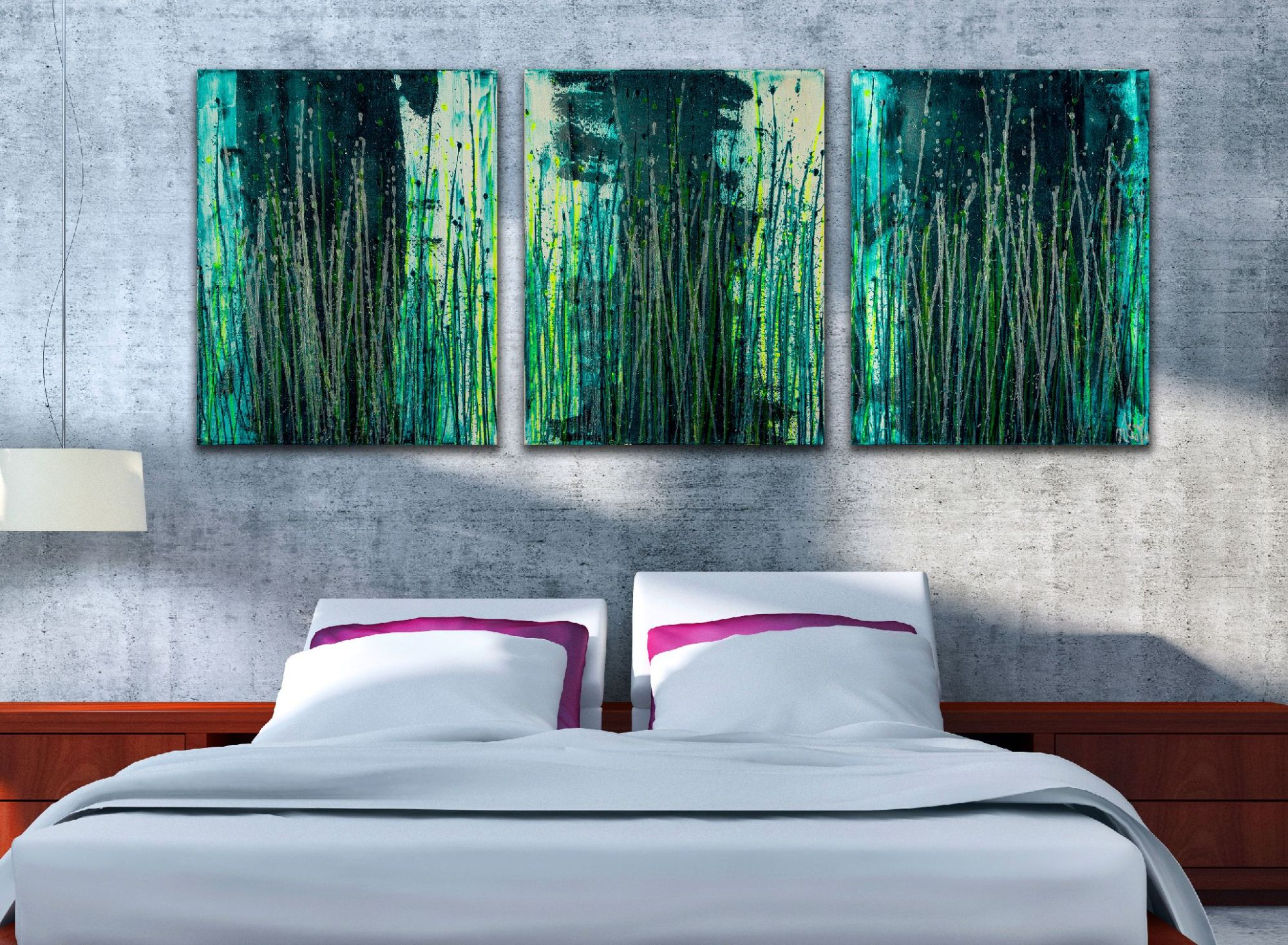 Room example - Vernal Garden (With Green and Silver) (2021) - Triptych
