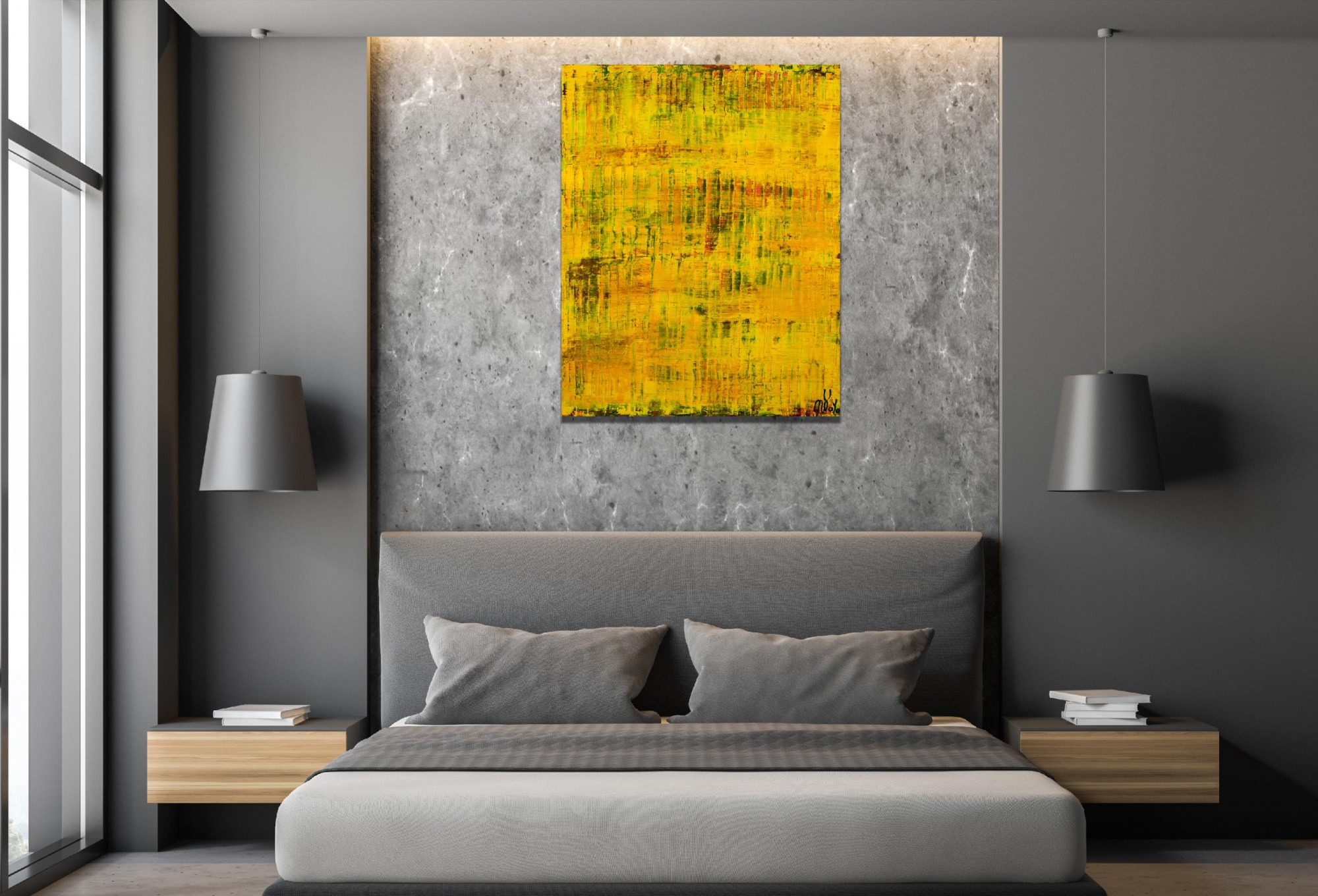 Room example / Yellow Reunion (Lost Lights) (2021) - 24x36 inches /Artist Nestor Toro