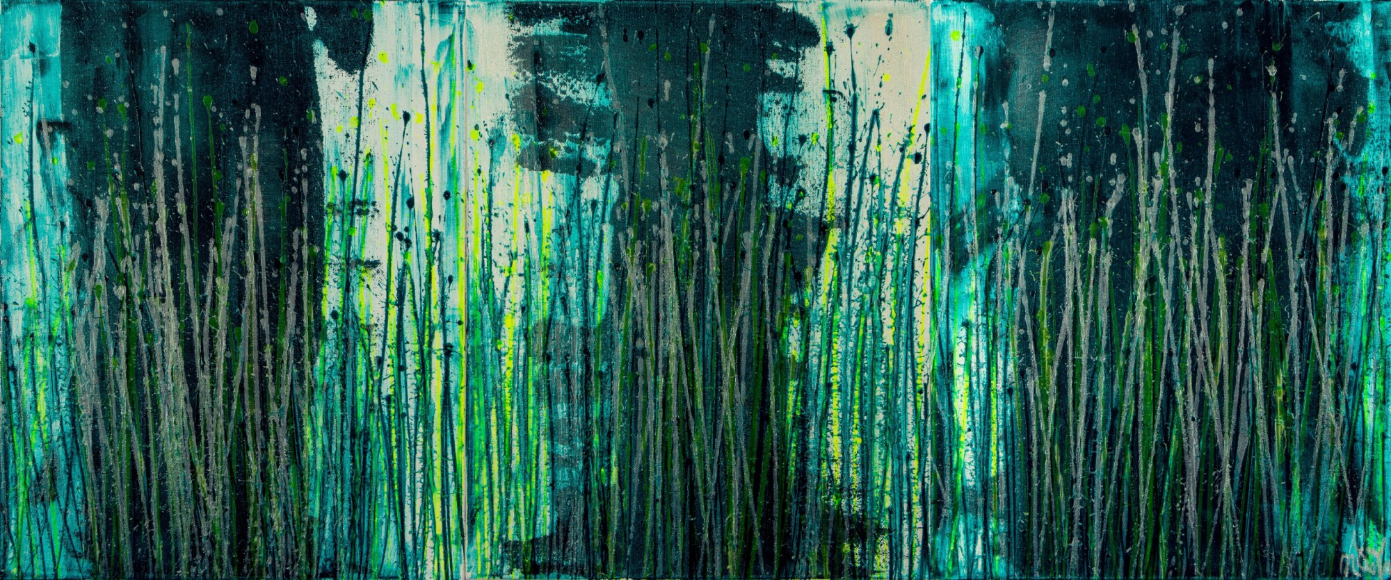 Vernal Garden (With Green and Silver) (2021) - Triptych