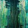 SOLD / Vernal Garden (With Green and Silver) (2021) - Triptych / Artist - Nestor Toro