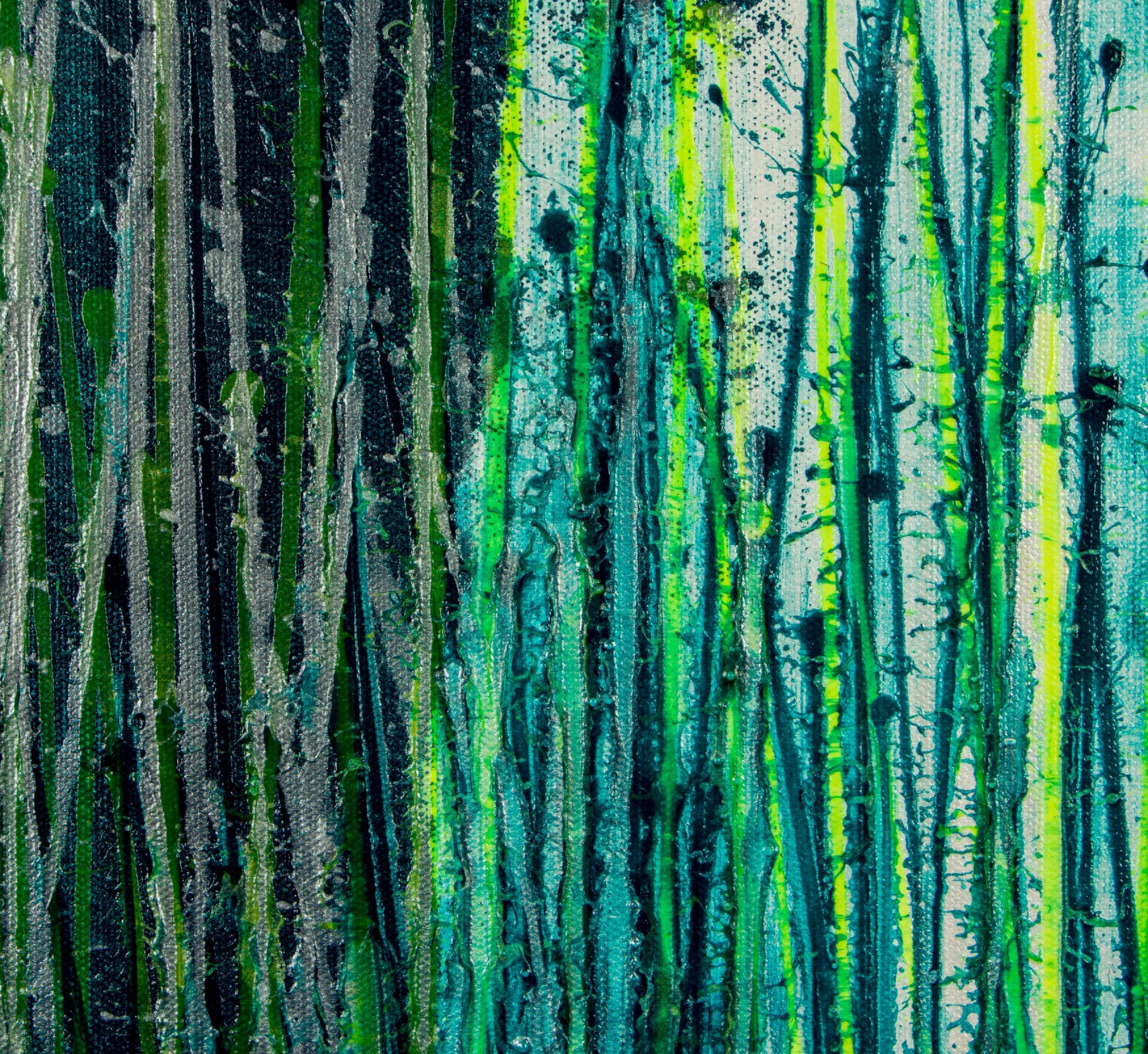 Detail - Vernal Garden (With Green and Silver) (2021) - Triptych
