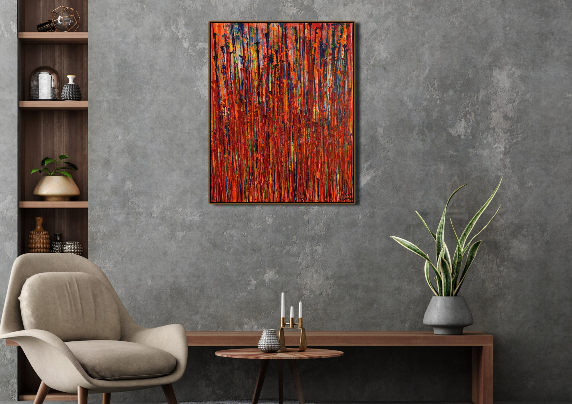 Room example (framed) / Panorama Astratto 1 (2021) 24X30 Inches / Artist: Nestor Toro