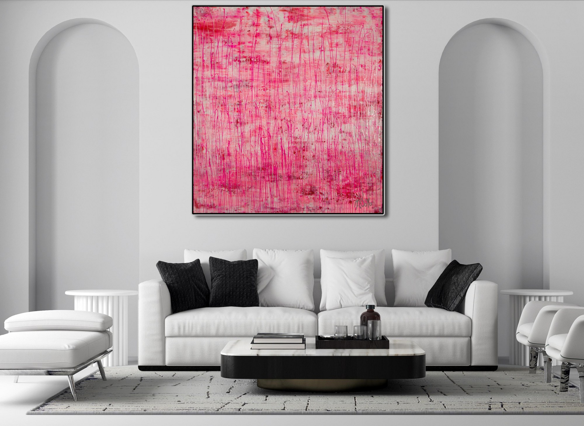 Room Example (framed) / Iridescent Drizzles (Rain in pink) (2021) / Artist - Nestor Toro