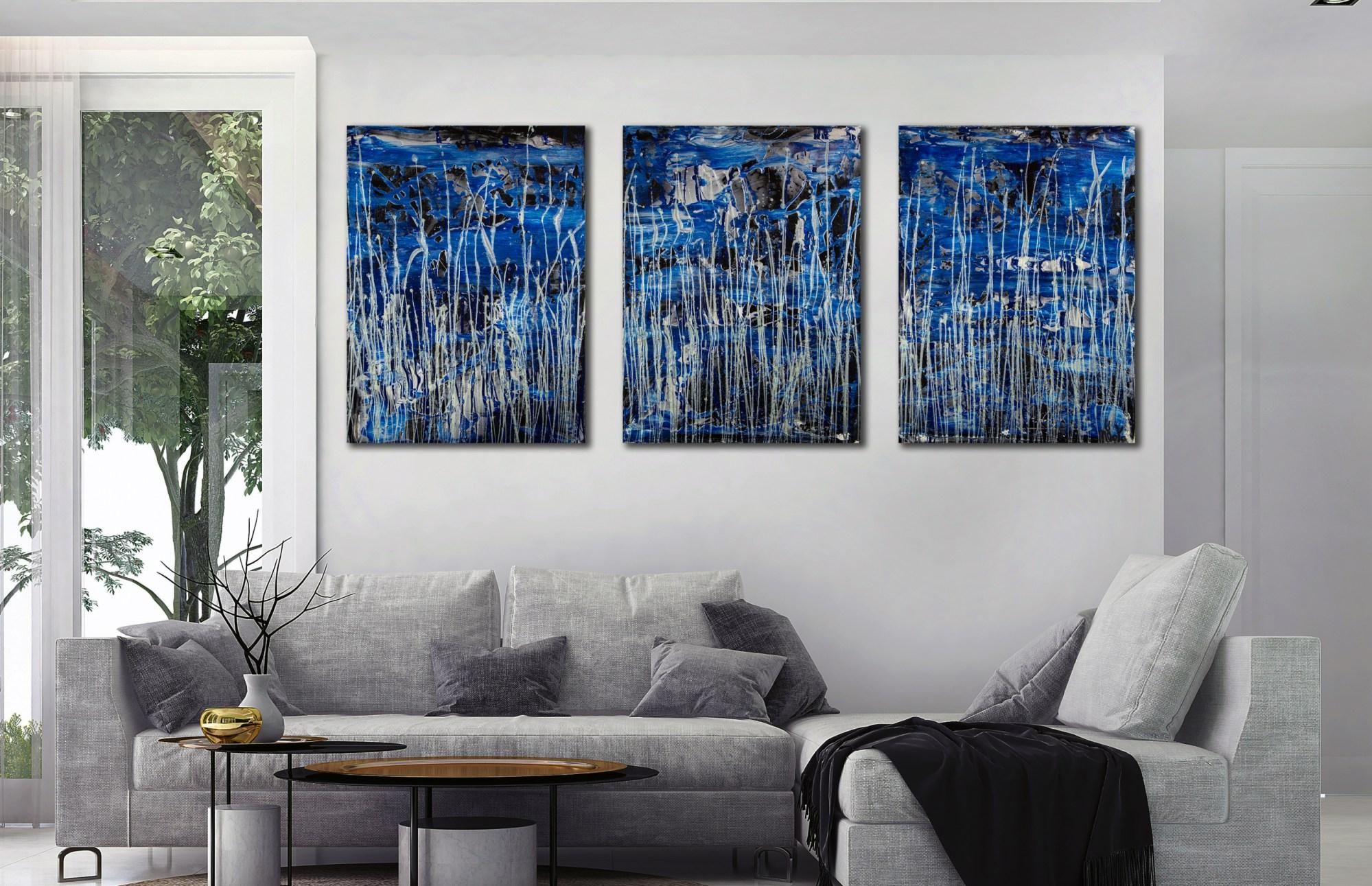 Supermoon (Silver drizzles) (2021) / Triptych / Nestor Toro