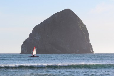 Upwind with Haystack Rock