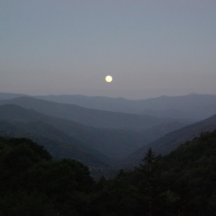 Blue moon rising over The Smoky Mountains