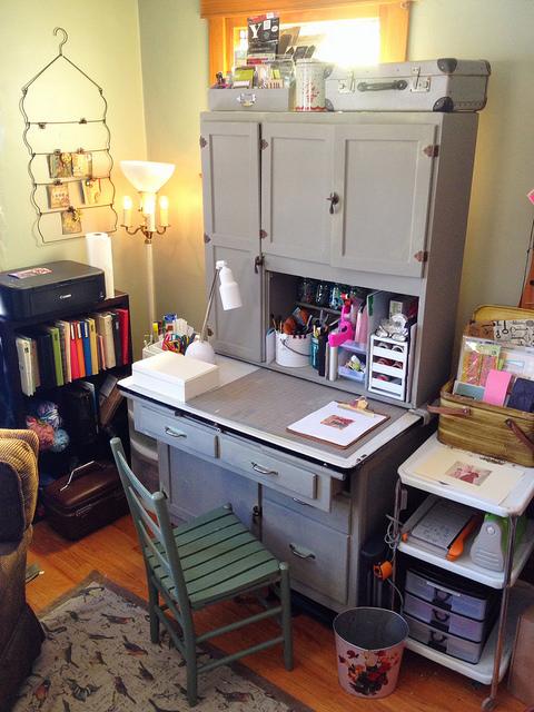 Hoosier cabinet creative studio in a corner