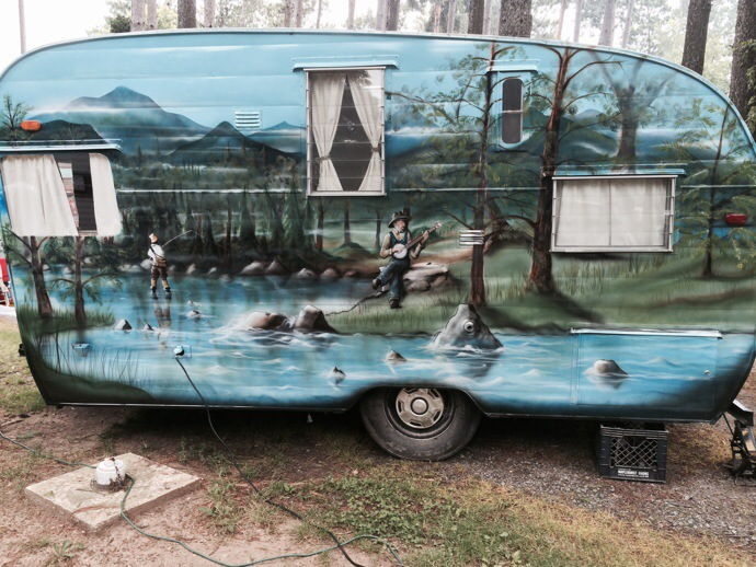 painted vintage camper - sisters on the fly