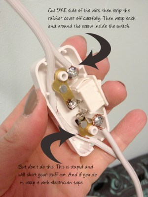 Adding a switch to an electric cord