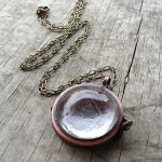 Copper aged bronze glass dome locket
