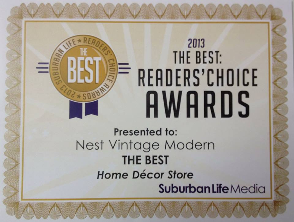"Proud to be Suburban Life 2013 Readers' Choice Awards  ""Best Home Decor Store"" in the Chicago 'burbs!"