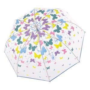 Moteriškas skėtis Doppler Fiber Long Automatic Transparent Butterflies atidarytas