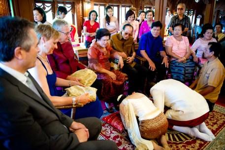 Traditional Thai wedding at Rose Garden Riverside (Sampran Riverside) in Nakhon Pathom (near Bangkok) in Thailand.