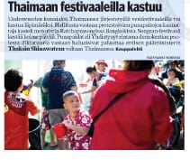 Tear Sheet from Kauppalehti - 14 April 2010 - Story about Red Shirts Protest in Bangkok, Thailand