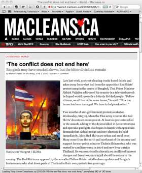 Screen capture of macleans.ca - 03 June 2010. Article Title 'The conflict does not end here'