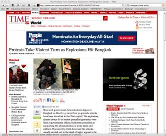 Screen capture of time.com - 23 April 2010.