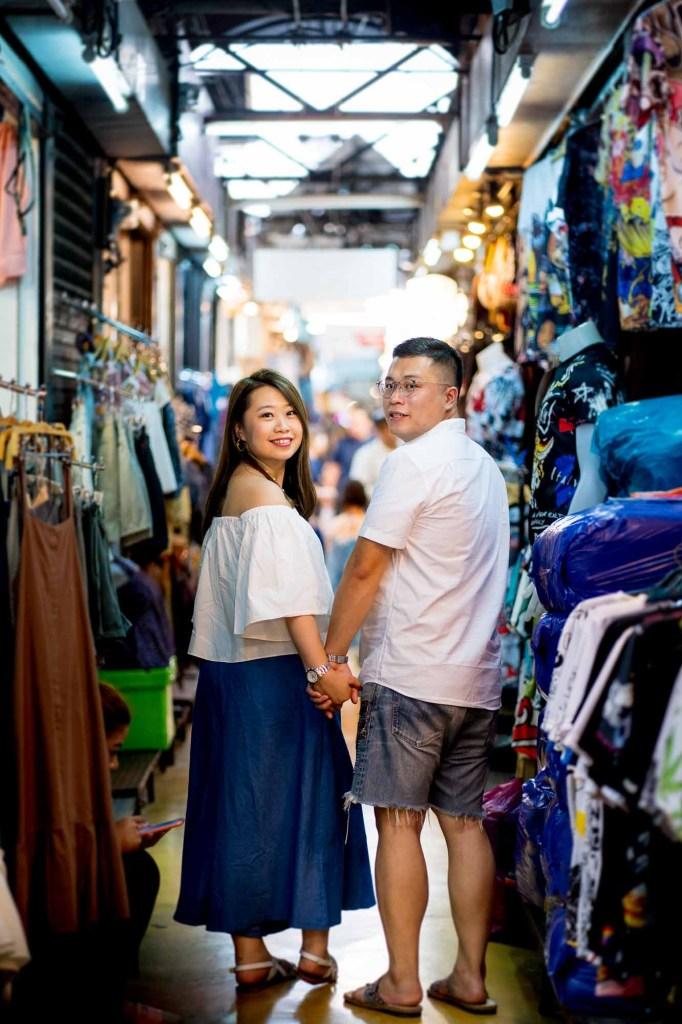 Engagement session at a market in Bangkok, Thailand.