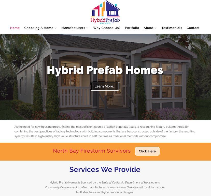 Hybrid Prefab Homes Website