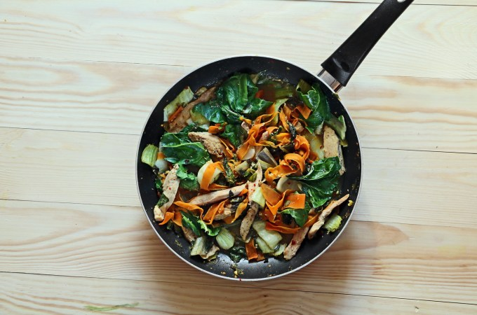 Stir fry chicken with Bok Choy and chard