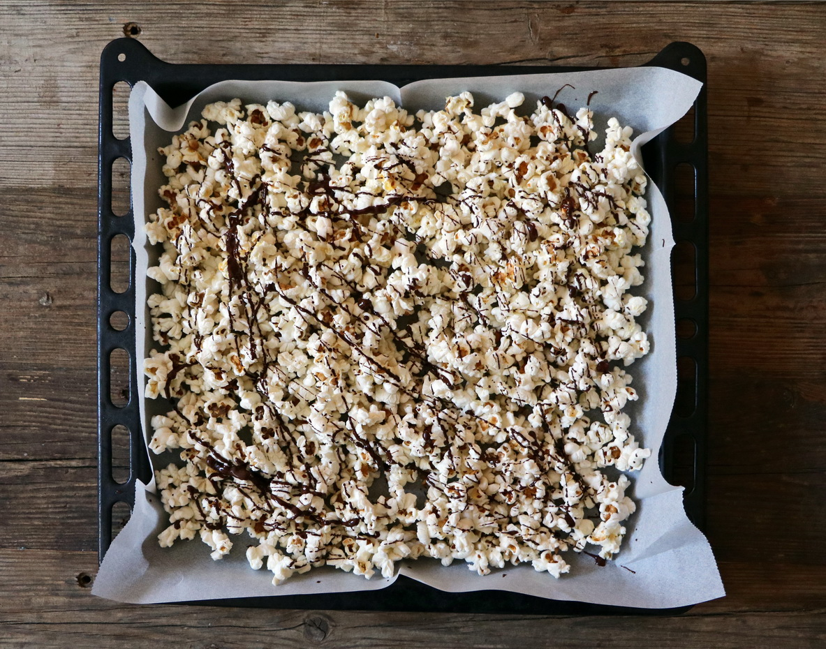 Sweet and salty chocolate covered popcorn