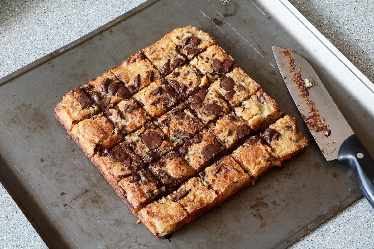 Banana Blondies with Tons of Chocolate Chips