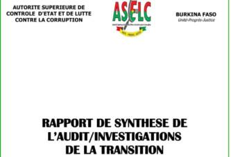 RAPPORT DE SYNTHESE DE L'AUDIT/INVESTIGATIONS DE LA TRANSITION