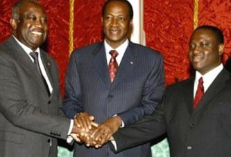Blaise Compaoré, Laurent Gbagbo et Guillaume Soro, trois leaders politiques aux origines du Traité d'Amitié et de Coopération Ivoiro-Burkinabé de 2008