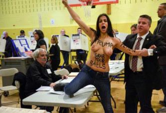 EN VIDEO – USA: Elles protestent seins nus dans le bureau de vote de Trump