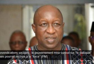 Revendications sociales : le gouvernement mise surtout sur ''le dialogue'' mais pourrait recourir à la ''force'' (PM)