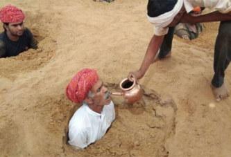 Inde: les fermiers s'enterrent jusqu'au cou pour sauver leur terre