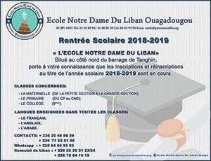 Inscription Ecole Notre Dame du Liban de Ouagadougou