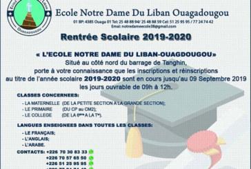 Ecole Notre Dame du Liban Ouagadougou: Inscriptions rentrée scolaire 2019-2020