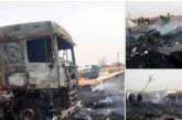 Feu dans un garage à Ouagadougou: 3 camions et un stock de pneus complètement en flamme